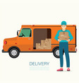 service fast delivery with delivery man and truck vector image