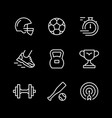 set line icons sport vector image vector image