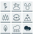 set of 9 landscape icons includes raindrop vector image vector image