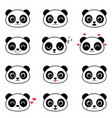 set of cute cartoon panda emotions vector image