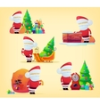 Set of santa claus with bag for 2017 new year vector image vector image