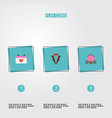 set of wedding icons flat style symbols with vector image vector image