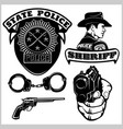 sheriff badges and design elements - set vector image vector image