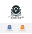 shield logo with letter v vector image vector image