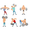 six bodybuilders set vector image vector image