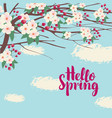 spring landscape with branches of blooming tree vector image vector image