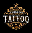 tattoo logo with floral details vector image vector image