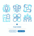 teamwork thin line icons set vector image vector image