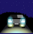 the suv with its lights on night road vector image