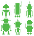 Vintage retro robots 2 set of 6 A in green vector image vector image