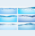 water waves blue flowing realistic waves splashes vector image vector image