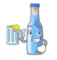 with juice glass of soda water on character vector image