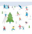 winter sport scene with people having fun vector image