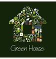 Eco green house symbol with ecological icons vector image