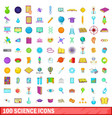 100 science icons set cartoon style vector image vector image