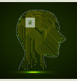 abstract neon human head with cpu circuit board vector image
