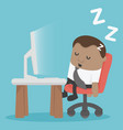 african businessman tired sleeping at desk at the vector image