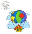 air balloon coloring book page cartoon vector image vector image