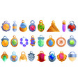 amulet icons set cartoon style vector image vector image