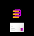 b e letter monogram web origami ribbon vector image vector image