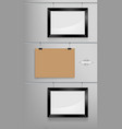 black photo frame and craft paper mockup vector image vector image
