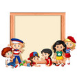 blank sign template with kids waving hands vector image vector image