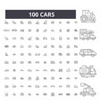 cars editable line icons 100 set vector image