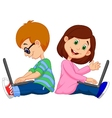 Cartoon boy and girl studying with laptop vector image vector image