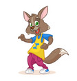 cartoon funny wolf dancing vector image