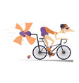 cartoon man rides a bike isolated vector image vector image