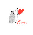 congratulatory funny hedgehog with heart vector image
