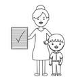 cute little student boy with female teacher and vector image