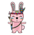 cute rabbit animal with feathers and arrows vector image