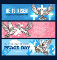 dove bird banner for wedding and religion design vector image