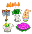 easter symbols plants in vases and flower bed vector image vector image