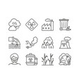 ecology icons outline line set environment vector image vector image