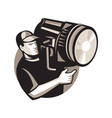 film crew with spotlight fresnel light vector image vector image