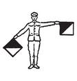 flag signal for letter m vintage vector image vector image