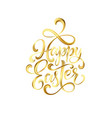 happy easter gold paint lettering hand drawn vector image vector image