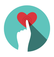 Icon with hand touching heart isolated on white vector image vector image