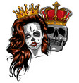 king and queen death portrait a skull with vector image vector image