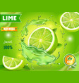 lime juice poster advertising design vector image vector image