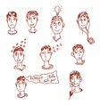 Men characters - funny faces vector image vector image