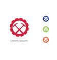 mining icon car repairing logo hammer in gear vector image vector image