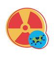 nuclear symbol with covid19 19 particle flat style vector image vector image