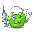 nurse character ripe green apple with leaf vector image