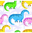 pattern colored dinosaurs vector image vector image