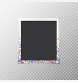 photo frame with bright confetti vector image vector image