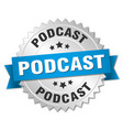 podcast round isolated silver badge vector image vector image