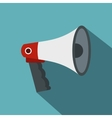 Red and white bullhorn public megaphone icon vector image vector image